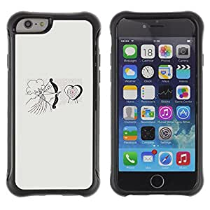 WAWU Rugged Armor Slim Protection Case Cover Shell -- grey cupid love angel heart valentine -- Apple Iphone 6 PLUS 5.5