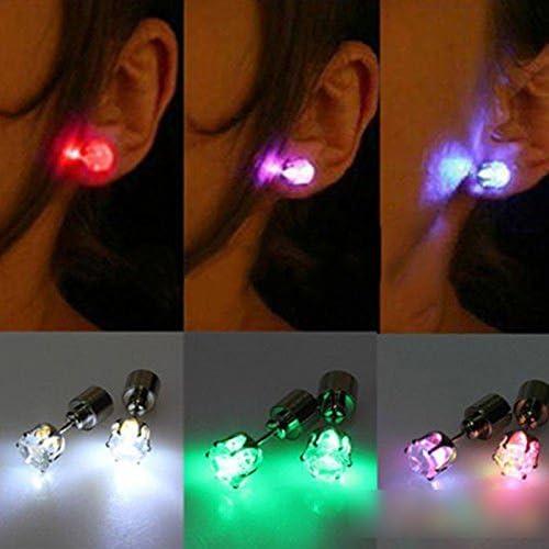 Creative Unisex Led Light Blinking Ear Studs Earrings Earings Ear D/¨/¦cor VANKER 1 Pair Colorful