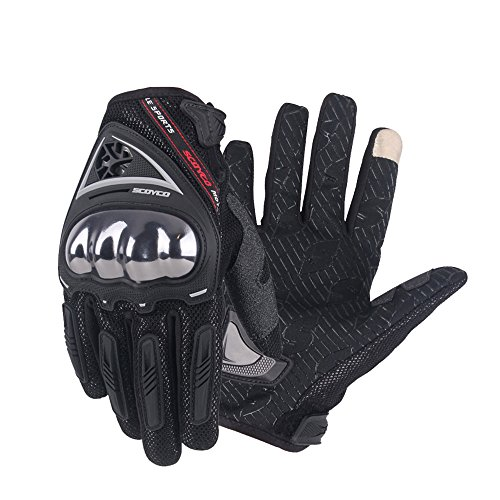 SCOYCO Men's Race Extreme Sports Protective Outdoor Motorcycle Gloves(Black,XL) by SCOYCO