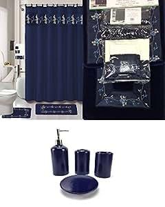 22 piece bath accessory set navy blue flower bathroom rug set shower curtain. Black Bedroom Furniture Sets. Home Design Ideas