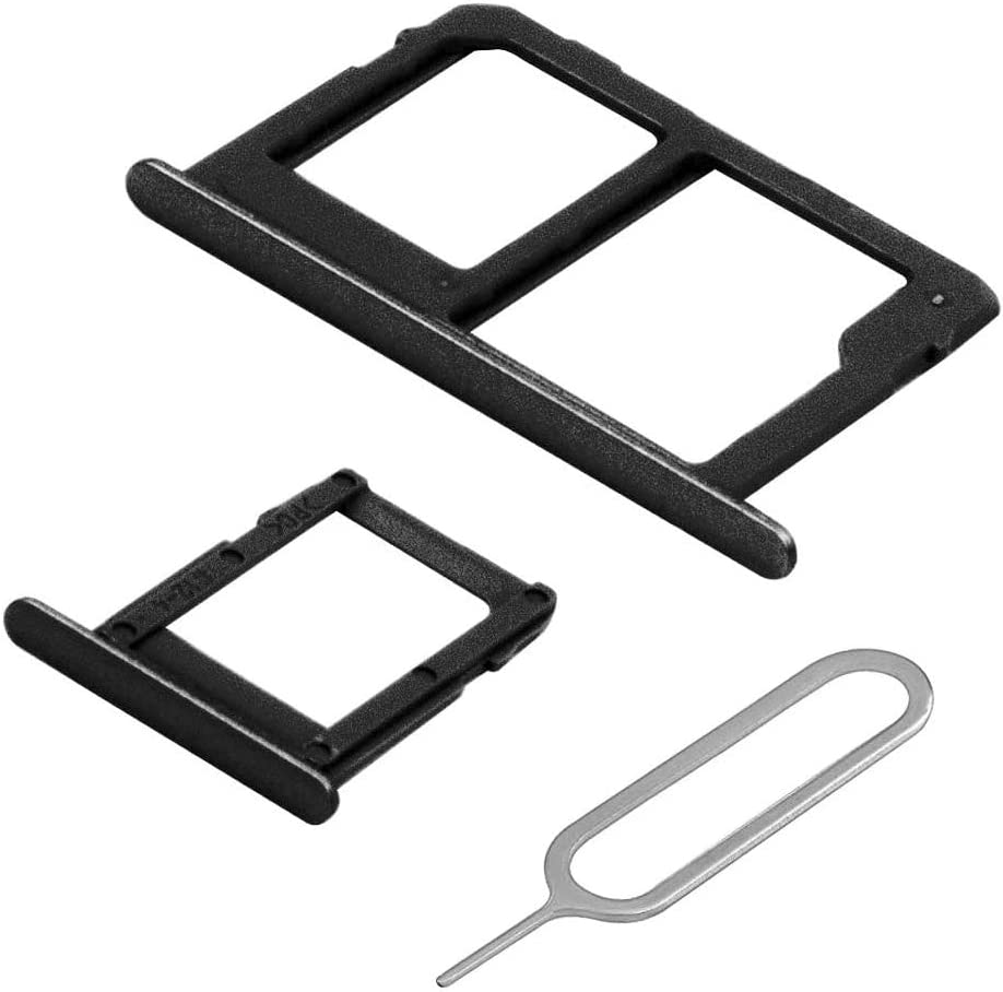 MMOBIEL Set with 1 SIM/SD Tray and 1 Sim Card Tray Compatible with Samsung Galaxy J6 Plus J610 2018 (Black) incl Sim pin