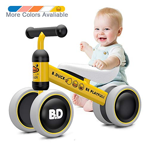Ancaixin Baby Balance Bikes 10-24 Month Children Walker | Toys for 1 Year Old Boys Girls | No Pedal Infant 4 Wheels Toddler Bicycle | Best First Birthday New Year Holiday Yellow Duck