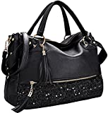 COOFIT Handbag Fashion Hobo Style Sequin PU Leather Shoulder Bag for Women