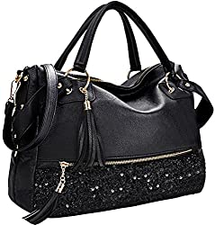 Black Sequin Handbag for Women