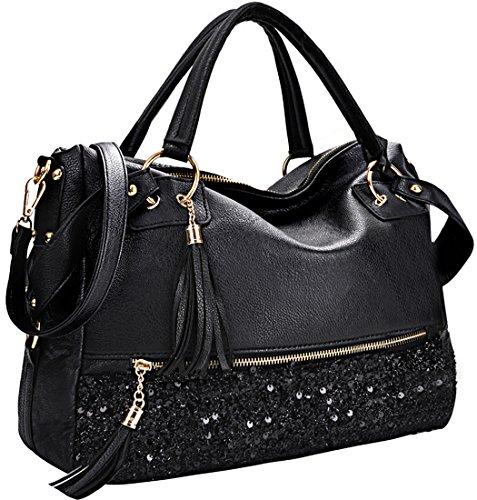 COOFIT Handbag Fashion Hobo Style Sequin PU Leather Shoulder Bag for Women by COOFIT