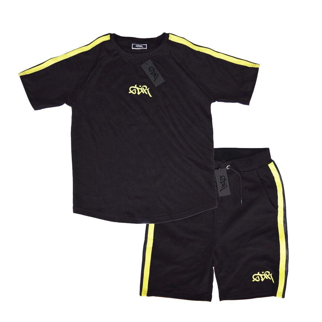 Grandeur Boys Black with Neon Green Trim Twinset T-Shirt Shorts GDR Outfit