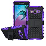 Galaxy J3 Case, Amp Prime Case, Express Prime Case , Viodolge [Shockproof] Hybrid Tough Rugged Dual Layer Protective Case Cover with Kickstand for Samsung Galaxy J3 (2016) / Amp Prime (purple)
