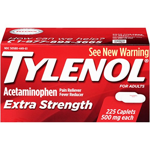 - Tylenol Extra Strength Caplets with 500 mg Acetaminophen, Pain Reliever & Fever Reducer, 225 ct