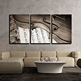 kitchen italian wall art - wall26 - 3 Piece Canvas Wall Art - Close-Up Picture of the Old Italian Violin Witn Score - Modern Home Decor Stretched and Framed Ready to Hang - 24