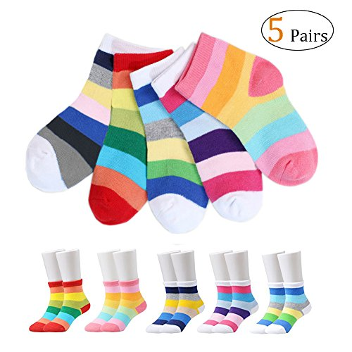 bow Socks for 1-5T, Multi Color Unisex Crew Socks for Toddlers Boys Girls (M: 3-5T) (Rainbow Ankle Sock)