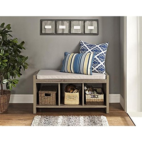 Three Spacious Cubbies and Laminated hollow living room with extra seating Sonoma Oak Storage Bench with Beige Cushion