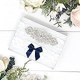 Wedding Garter Set - Lace Bridal Garter - Silver - Something Blue