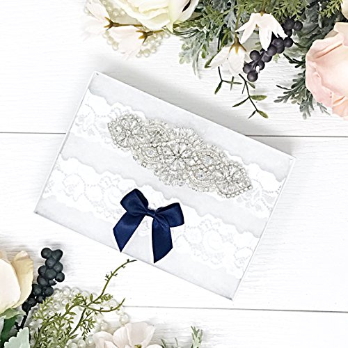 Wedding Garter Set - Lace Bridal Garter - Silver - Something Blue by Lauren Lash Designs