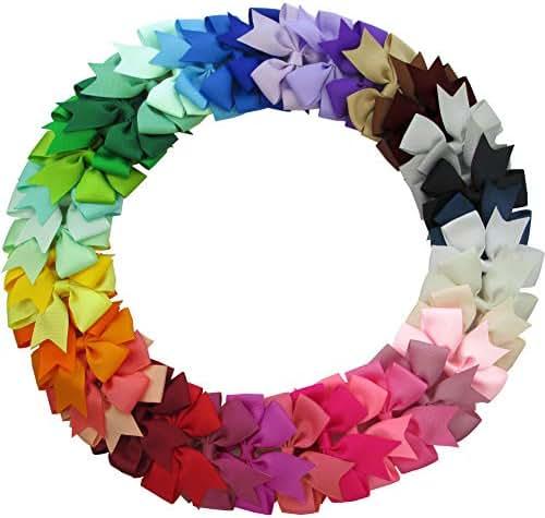 QingHan 40Pcs 3'' Grosgrain Ribbon Pinwheel Boutique Hair Bows Clips For Baby Girls Teens Toddlers Kids Children