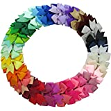 QingHan 40Pcs 3'' Grosgrain Ribbon Pinwheel Boutique Hair Bows Clips For Baby Girls Teens Toddlers Kids Children