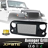 Xprite Latest Black Avenger Front Matte Grill W/ Mesh Grille Insert aggressive off-road look For Jeep Wrangler Rubicon Sahara JK JKU 2007-2016