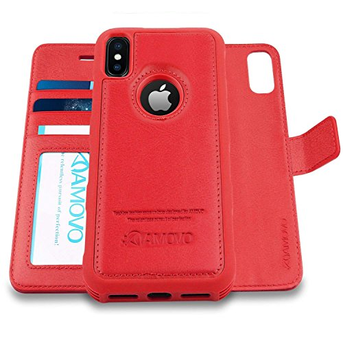 Amovo Case for iPhone Xs/iPhone X (5.8'') [2 in 1] iPhone Xs Wallet Case [Detachable Folio] [Vegan Leather] [Wrist Strap] iPhone X Flip Case with Gift Box Package (X/XS (5.8) Red)