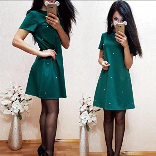 Longra ♣Moda Mujer Casual Shift Elegante color sólido O Neck Straight Dress Verde