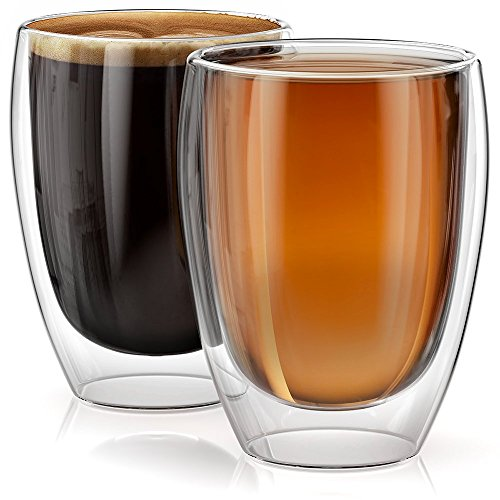 Stone & Mill Set of 2 Large Double Walled Glass Coffee Cups Without Handle, Verona Collection, Insulated Mugs for Espresso, Latte, Cappuccino, Tea, Gift Box Set AM-07 12 ounce