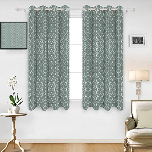 SATVSHOP Waterproof Window Curtain- 96W x 96L Inch- Draperies for Bedroom.Retro Medieval Authentic Style Curved Oval Floral Motifs Light Sage Green White.