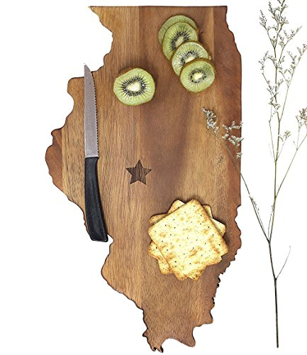 Illinois Monkey - LARGE Illinois State Cutting Board: Premium-grade Custom Wooden Chopping or Cheese Board from SiamMandalay