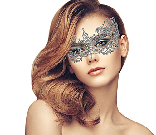 Venetian Carnival Mardi Gras Mask (Exquisite High-end Lace Masquerade Mask (Gray/Venetian))