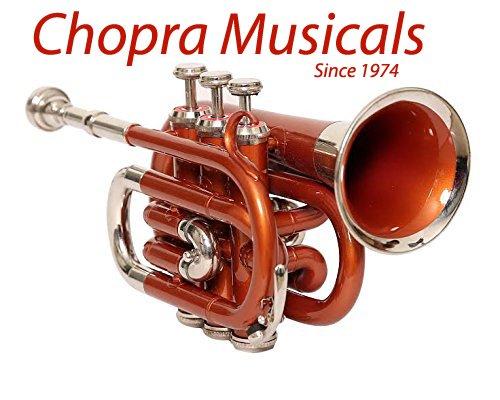 Pocket Trumpet Pro Orange Nickel Combination Chopra Make with M/P & Case Chopra Musicals 4013