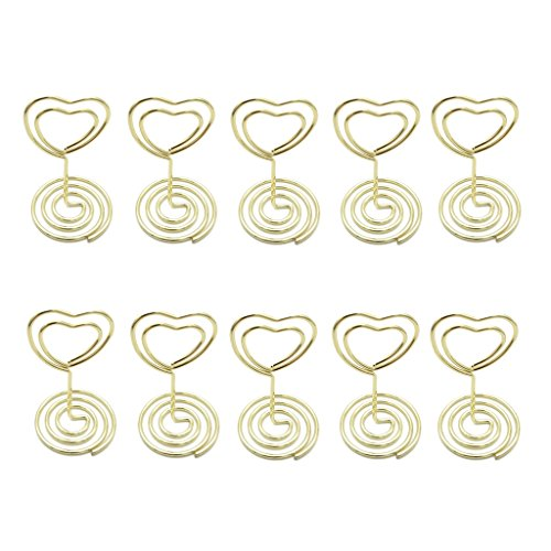 JANOU Mini Heart Shape Place Card Memo Holder Picture Stand Note Clip for Wedding Party Decoration Pack 10pcs (Gold)