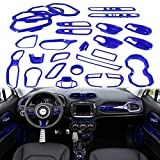 Yoursme Blue Car Interior Accessories Decoration Cover Trim Kit 31PCS Air Conditioning Vent & Door Speaker & Water Cup Holder & Passenger Side Grab Handle Covers for Jeep Renegade 2015-2018