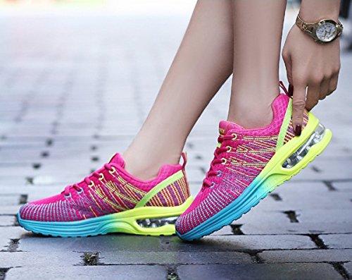Homme Femme Chaussures de Running Sport Basket Respirante Travail Trail Sneakers Noir Rose Gris 35-46 4