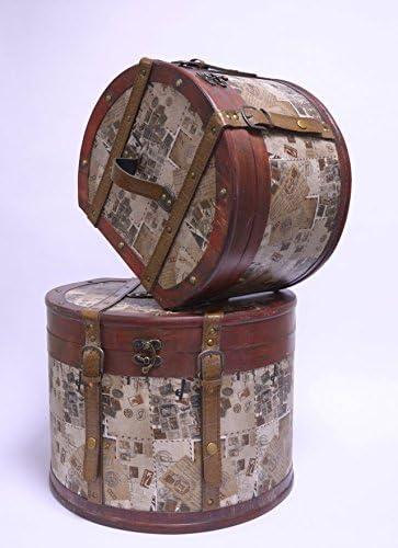 Sombrerera maletín de almacenamiento de caja de 2er SET estilo envejecido: Amazon.es: Hogar