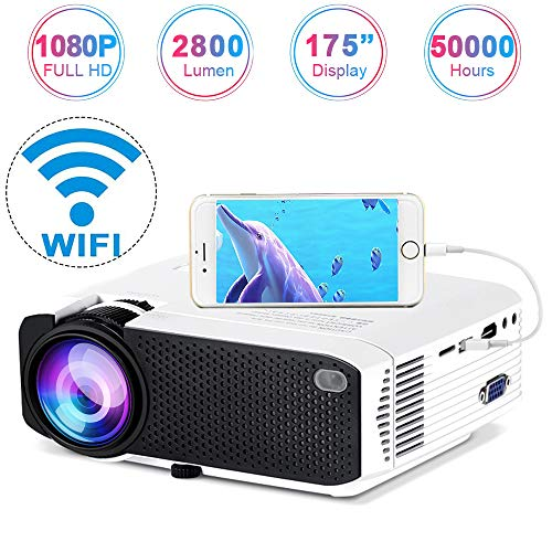 "Wireless Projector 2800Lux, Weton Mini WiFi Projector 1080P HD 70% Brighter 175"" Display Video Projector LED Portable Home Movie Projector Support HDMI USB VGA AV for Smartphones TV Stick Laptop Xbox"