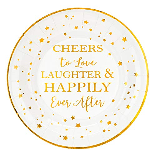 Crisky Cheers to Love Gold Plates for Bridal Shower, Wedding, Engagement, Bachelorett Party Decorations, Dessert, Buffet, Cake, Lunch, Dinner Disposable Plates Party Supples, 50 Count, 9