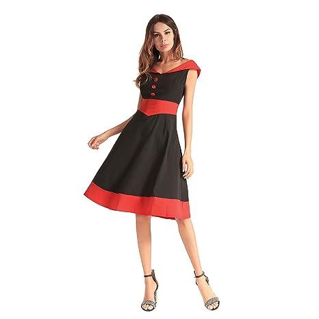 03aa9db33b68 YAN Vestito da Donna da Donna A Line Dress V Collar Sleeveless Big Swing  Fashion Abiti