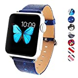 DELELE Compatible for iWatch Band 38mm 42mm, High Grade Leather Print Pattern Replacement Printed Sport Strap for iWatch Series 3 Series 2 Series 1 Smartwatch Women Men (Galaxy Star, 38mm)