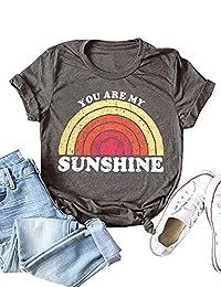 72bebceba SUPEYA You are My Sunshine T-Shirt Women's Letter Printed Rainbow Graphic  Tees Tops