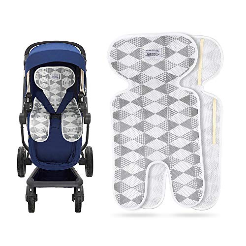 Luchild Baby Stroller Cool Seat Mat Breathable 3D Mesh Cool Cushion Liner for Stroller Car Seat High Chair Pushchair B - Gray (Best Cooling Stroller Liner)