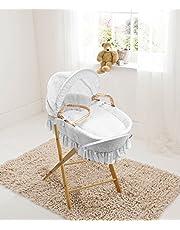 Lujoso british hizo palma moses cesta con blanco broderie anglaise vestidor. Incluye soporte plegable de pino