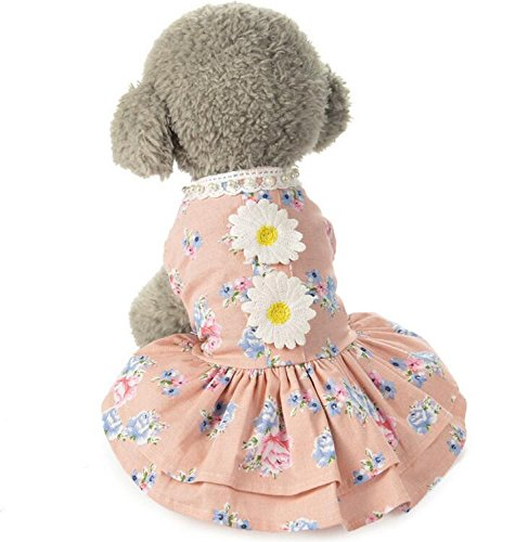 Flower Dog Sun Summer Pet Comfortable Dress Spring Pink Clothes L Wanyne and Cat xqHwYnSxXz
