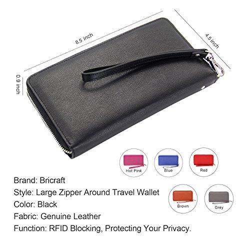 Women RFID Blocking Wallet Genuine Leather Zip Around Clutch Large Travel Purse Black
