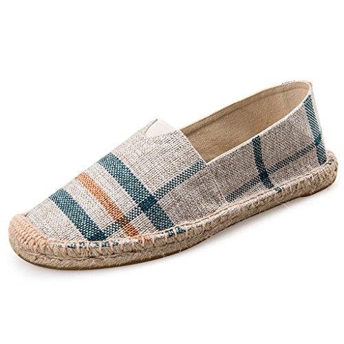LaRosa Women's Sneaker Casual Fashion Loafer Slip-On Espadrille Flat Canvas Shoes Beige (Beige Espadrilles Canvas)