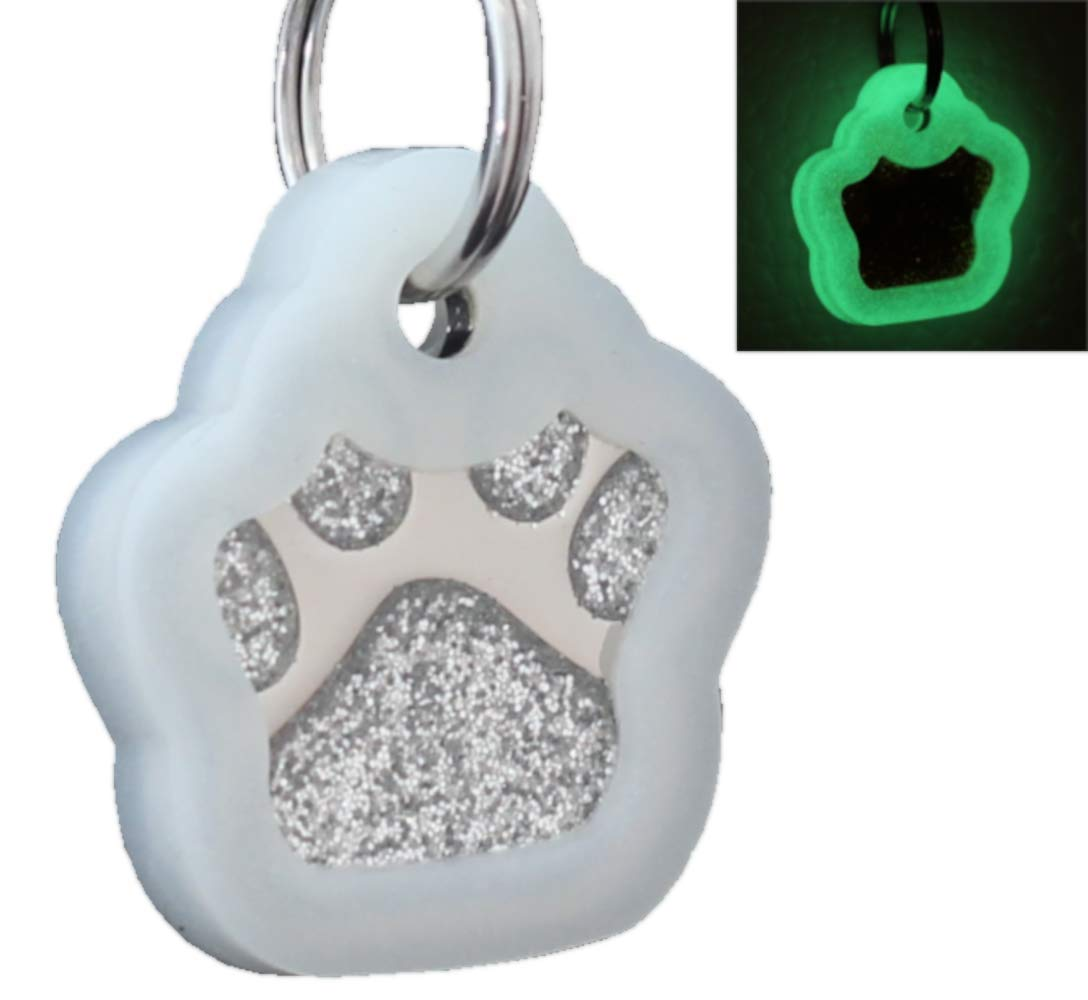 e8337f2980fa Laser Engraving Glitter Paw Pet ID Tags Custom Personalized for Dog   Cat  Paw Print Tag