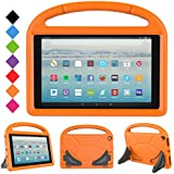 LTROP Protective Kids Case for All-New Fire HD 10 Tablet 2017 (7th Generation, 2017 Release), Stand Cover Case with Handle for Amazon Fire HD 10.1 Inch Tablet - Orange
