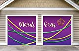 Outdoor Mardi Gras Decorations 2 Car Split Garage Door Banner Cover Mural - Mardi Gras Beads, Two 7'x 8' Graphic Kits - ''The Original Mardi Gras Supplies Garage Door Banner Decor''