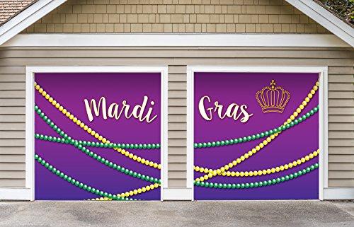 Victory Corps Outdoor Mardi Gras Decorations 2 Car Split Garage Door Banner Cover Mural - Mardi Gras Beads, Two 7'x 8' Graphic Kits - The Original Mardi Gras Supplies Garage Door Banner Decor