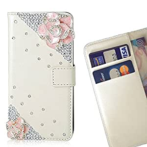 FOR HUAWEI P8 Lite Pink Flower Bling Bling PU Leather Waller Holder Rhinestone - - OBBA