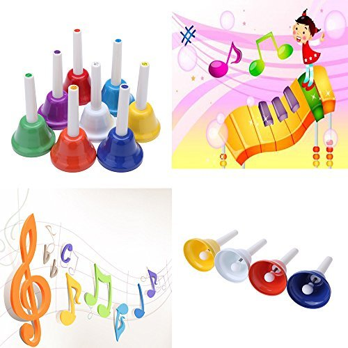Andoer Handbell Hand Bell 8-Note Metal Colorful Kid Children Musical Toy Percussion Instrument