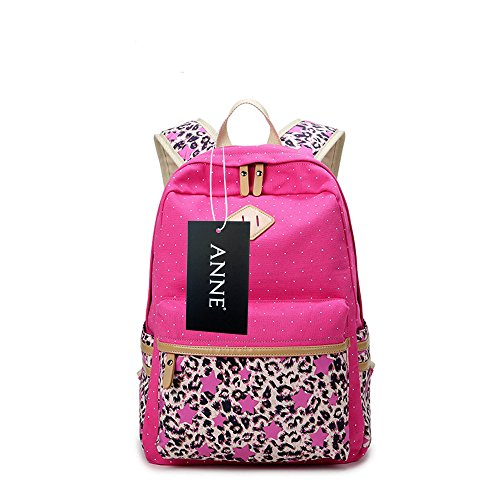 Anne - Bolso mochila  de Lona para mujer negro morado rosa roja