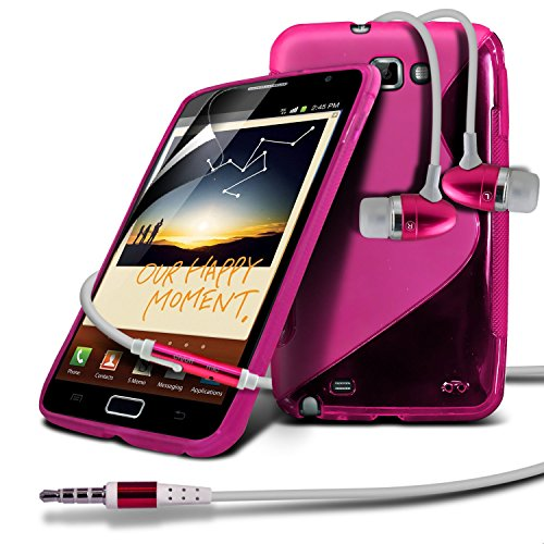 Samsung Galaxy Note N7000 Hot Pink S Line Wave Gel Case Skin Cover With LCD Screen Protector Guard, Polishing Cloth & Hands Free Earphone with Built in Microphone Mic & On-Off Button by Fone-Case