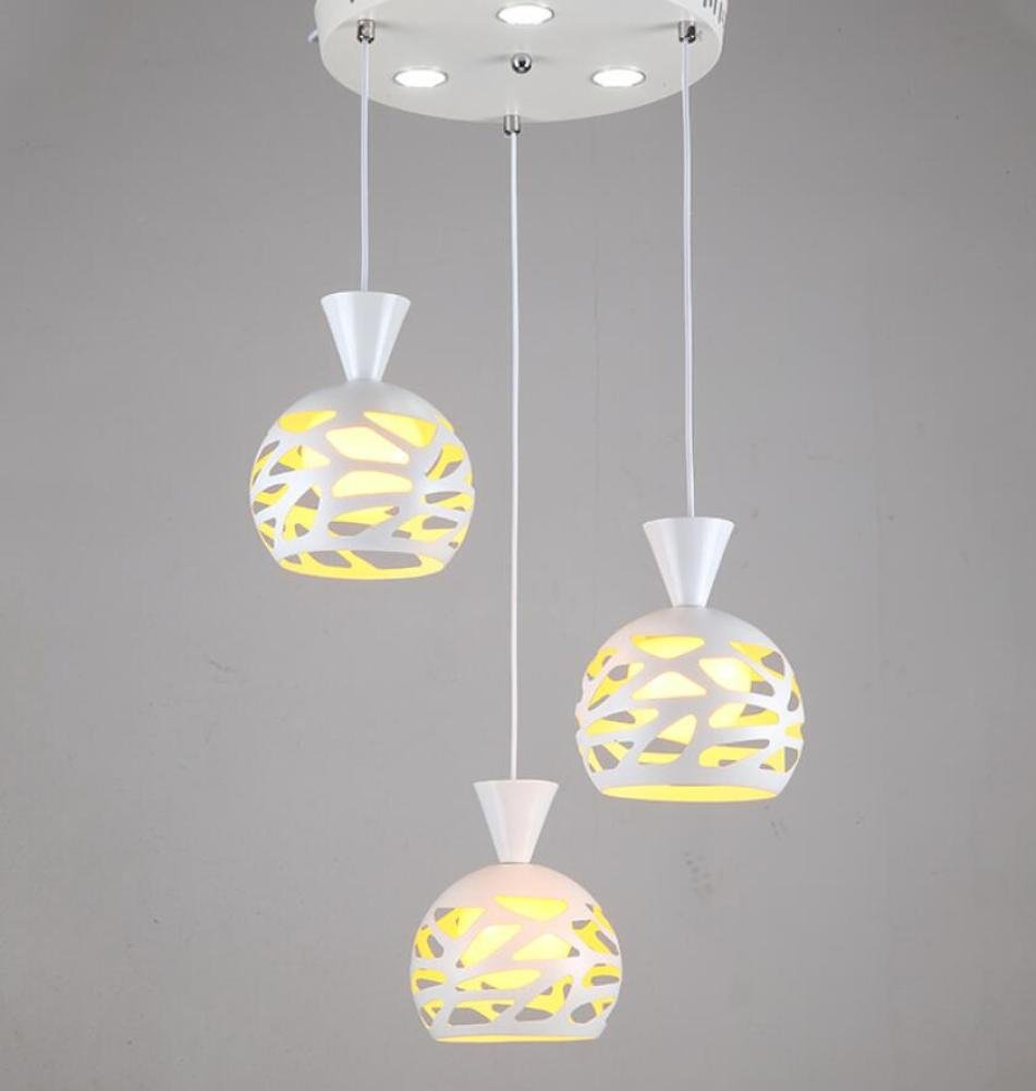GL&G Creative Iron restaurant chandeliers Pendent Light for Hallway,Hollow lampshade Home Decoration Lamps,LED Bulb Included, Warm White Light,3 head,1520cm